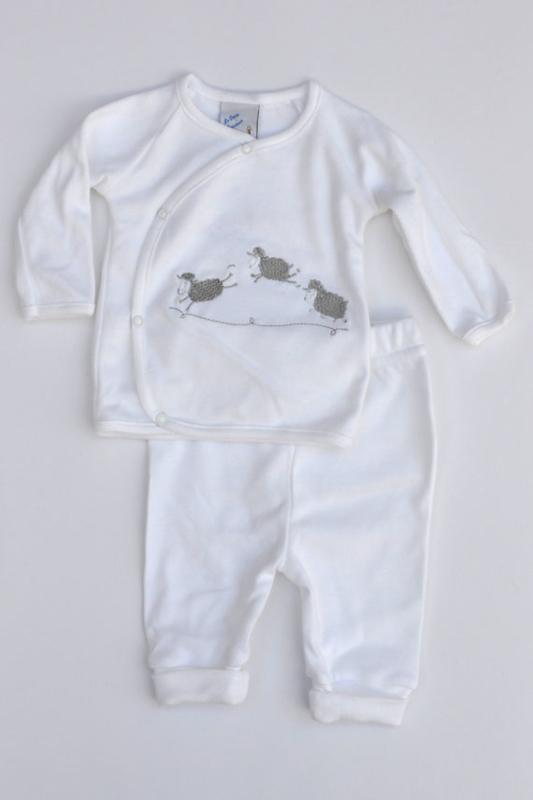 LPC-Unisex pre 2-pce Babysuit sheep-White-grey