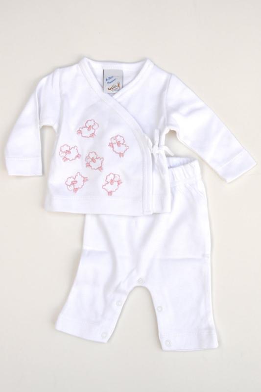 LPC-Baby Girls pre 2pce Babysuit Sheep- White-Rose