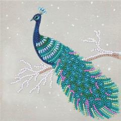 Craft Buddy- Card Kit-Diamond Painting Pretty Peacock- Multi Color