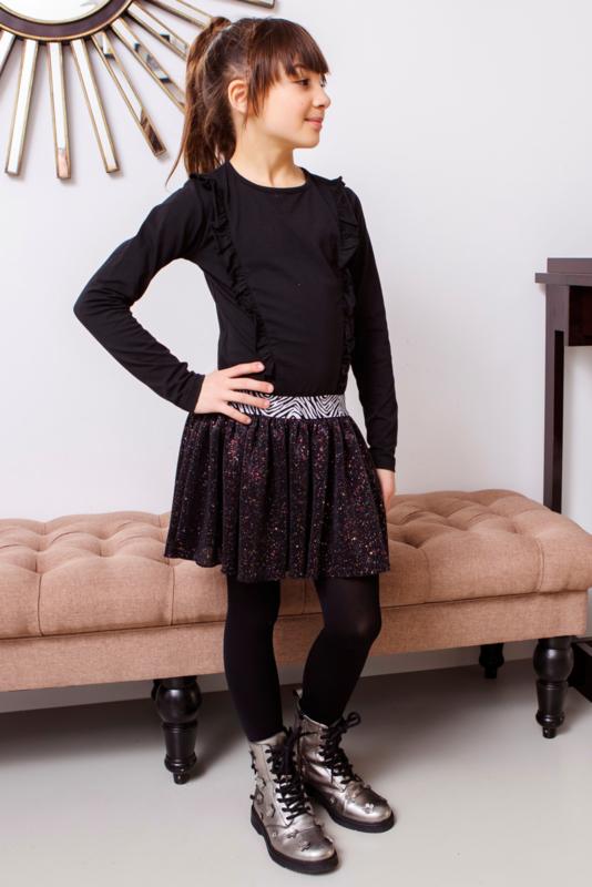 Girls dress with flock aop top and sequince skirt  -B.Nosy-Black zebra