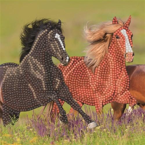 Craft Buddy- Card Kit-Diamond Painting Galopping Horses- Multi Color