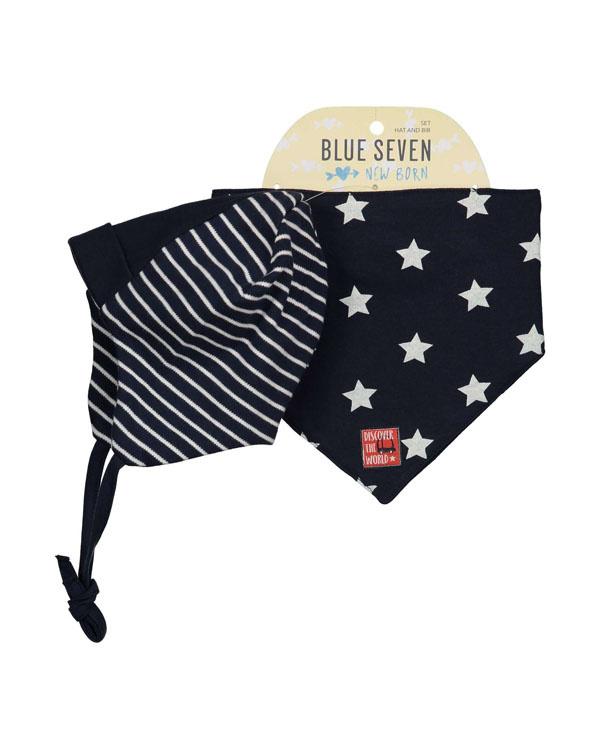 Blue Seven-Baby Boys knitted cap + scarf- Dark bLue