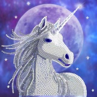 Craft Buddy- Card Kit-Diamond Painting Starlight Unicorn- Multi Color