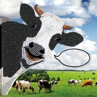 Craft Buddy- Card Kit-Diamond Painting Funny Cow- Multi Color