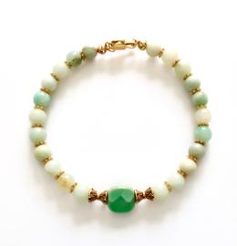 Handgemaakte  armband Turquoise & Amazonite   Gipsy Ibiza Armband