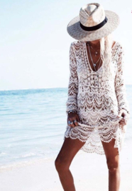 Lace crochet Ibiza white dress  | Ibiza tuniek kant