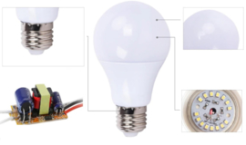 LED 12V kogellampje 3W of 5W E27 fitting 2 stuks