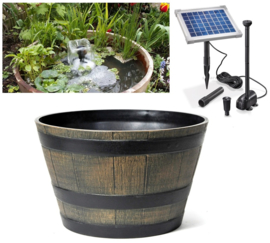 """Minivijver zonne-energie Wijnvat rustiek """"Waterbel"""""""