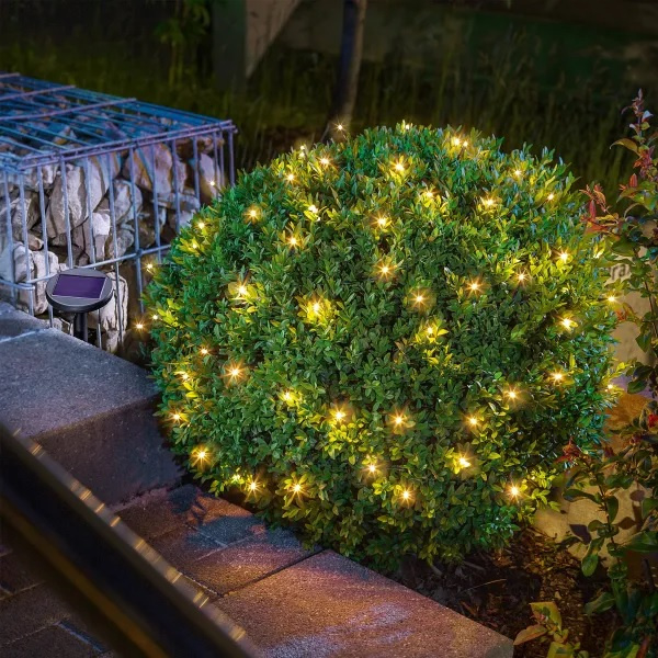 Party/Kerst verlichting LED op zonne-energie 48 wit/warmwit