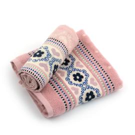 Theedoek & Handdoek set Bunzlau Castle Blossom Pink
