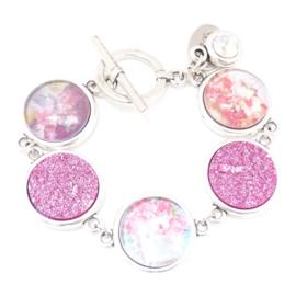 Armband bloemen Roze
