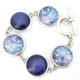 Armband bloemen blauw