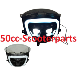 Koplamp led new style Piaggio Zip 2000 zwart DMP smoke tellerglas 37100