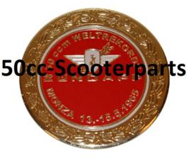 Sticker zundapp logo rond zundapp monza rood/ goud z517-12.127/ r 10010037