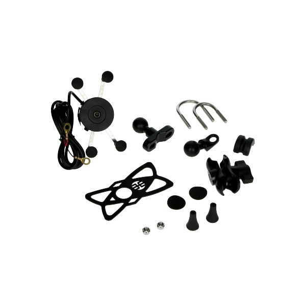 Telefoonhouder stuur scooter / motor universeel + USB aansluiting 123734