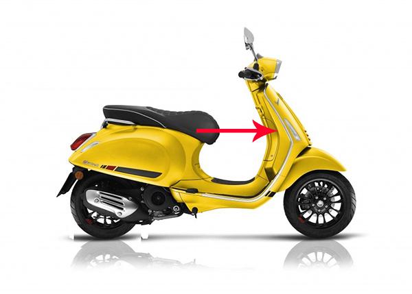 Beenschild Vespa Vespa sport mat geel 974 a Piaggio origineel 1b003620000l7