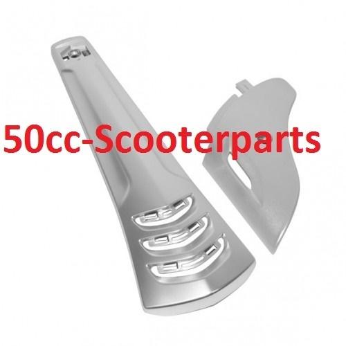 Voorscherm midden + beschermkapje voorvork Vespa Sprint 38068 chrome mat