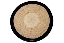Vloerkleed Jute zwart rond diameter 150 cm
