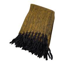 Plaid mohair mosterd black 130x170 cm