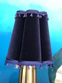 Fluweel Lampenkap Blue vintage small