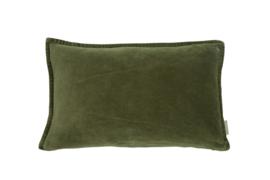 Kussen velvet linnen moss green 30x50