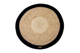 Vloerkleed Jute zwart rond diameter 120 cm