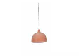 Terra cotta hanglamp bol incl. linnen pendel