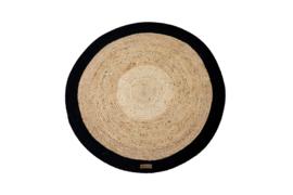 Vloerkleed Jute zwart rond diameter 100 cm