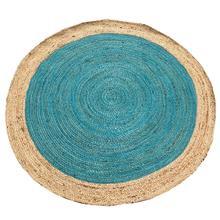 Vloerkleed jute rond naturel turquoise 120 cm