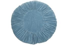 Kussen rond Ruffles 60 cm faded blue