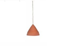 Terra cotta hanglamp Triangle incl. linnen pendel