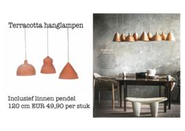 Terra cotta hanglamp clock incl. linnen pendel