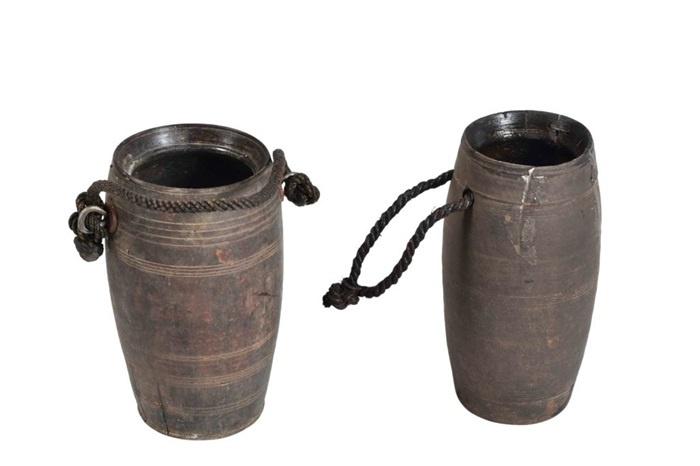 Houten pot met touw