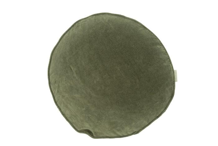 Fluwelen kussen rond Green moss diameter 40 cm