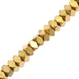 Kralen van hematite facet disc Gold 3 mm 10 st 58632