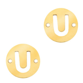 Bedel van  (RVS) 10mm initial coin U Goud tussenzetsel
