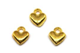 Bedel Hartje 7x6mm, Goud, 5 stuks