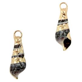 Schelp hanger special Penhoren Anthracite-gold Per stuk