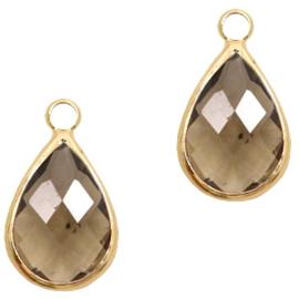 Hanger van crystal glas druppel 10x14mm Greige crystal-gold 58303