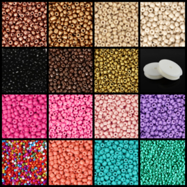 Pakket Rocailles 15 zakjes 10 gram 3 mm + rol rijgdraad