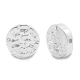 Kralen van hematite plat disc Silver 65651 per stuk