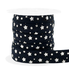 Elastisch lint stars pattern Black-silver 50 cm