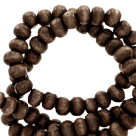 Houten kralen 4mm rond Dark chocolate brown 4 gram 67833
