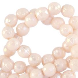4 mm kralen natuursteen rond facet geslepen Ivory Cream  64498 Per 10 st.