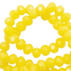 Facet kralen top quality disc 4x3 mm Marigold yellow-pearl shine coating, 10 stuks 72258