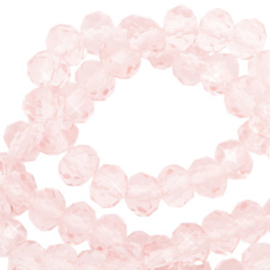 Facet kralen top quality disc 4x3 mm Pale French pink-pearl shine coating,  10 stuks 72202