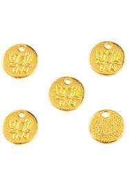 Bedeltje Lotus 8 mm 4 stuks goud