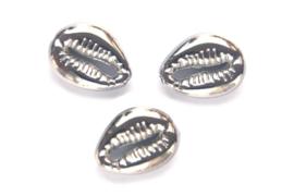 Kauri Cowrie Schelp kraal, 18x13,5mm, Zilver 4 st