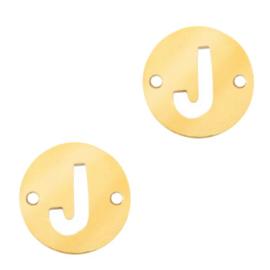 Bedel van  (RVS) 10mm initial coin J Goud tussenzetsel