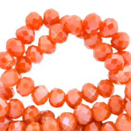 Facet kralen top quality disc 4x3 mm Spicy orange-pearl shine coating, 10 stuks 60237